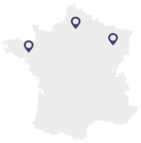 Carte de France - Grand Est, Bretagne, Hauts de France